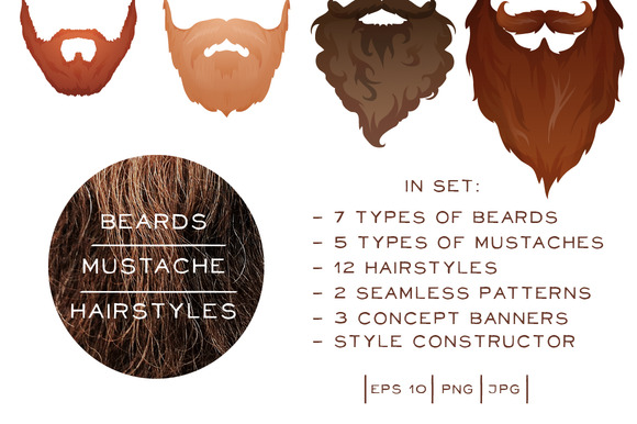 Beards Mustaches Hairstyles Big Set