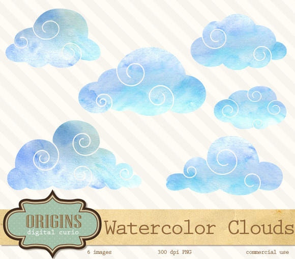 Blue Watercolor Clouds Clipart