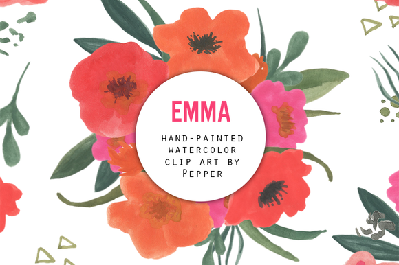 Watercolor Flower Clipart Emma