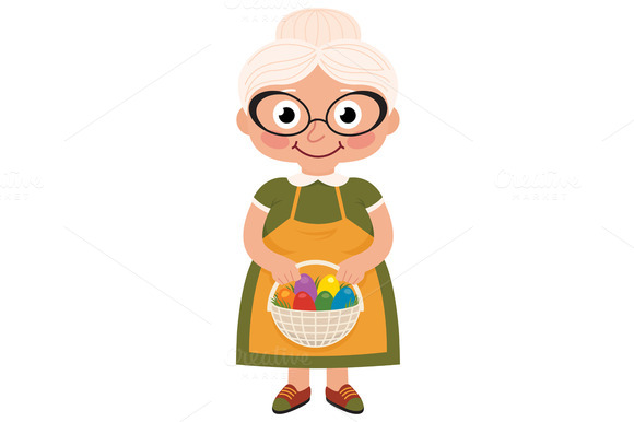 Grandmother Holding A Basket With Ea