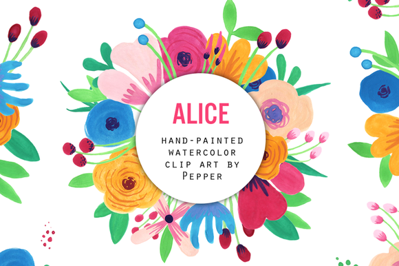 Watercolor Flower Clipart Alice