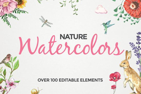 100 Editable Watercolor Elements