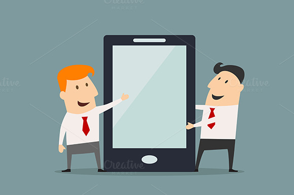 Cartoon Businessmen With Smartphone