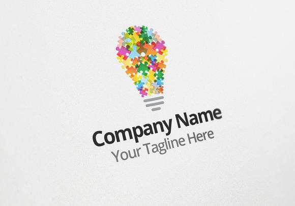 Puzzle Idea Logo Design Template