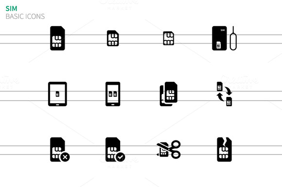 Mobile Phone SIM Icons On White