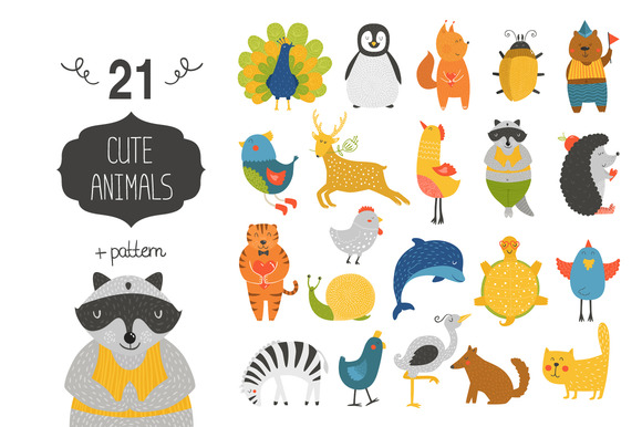 Cute Animals Collection Pattern