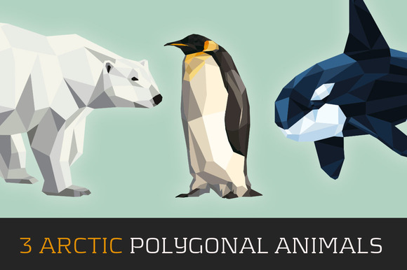 3 Arctic Polygonal Animals