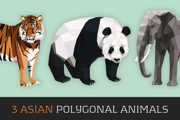 3 Asian Polygonal Animals