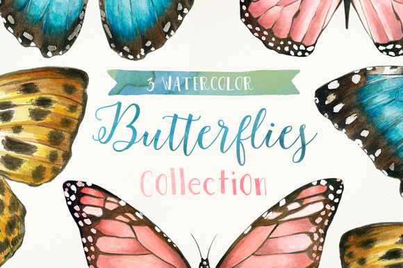 3 Watercolor Butterflies