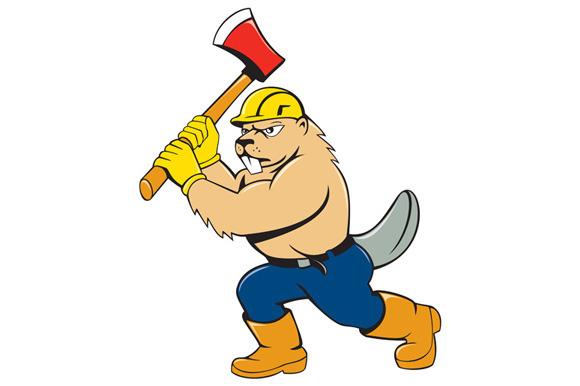Beaver Lumberjack Wielding Ax Cartoo