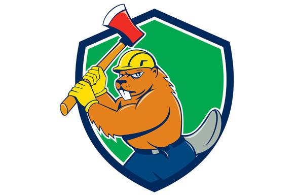 Beaver Lumberjack Wielding Ax Shield