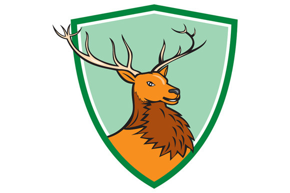 Red Stag Deer Head Shield Cartoon