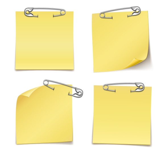 Blank Sticky Notes With Safety Pins