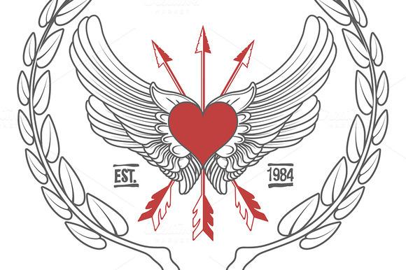Vintage Hipster Logo Angel Heart