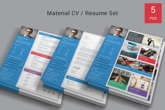 Material CV Resume Set