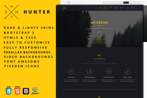 Hunter One Page HTML5 Template