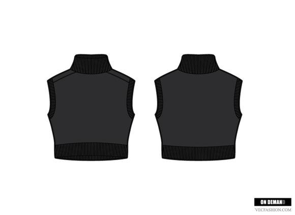 Women Crop Mock Neck Sweater Vest