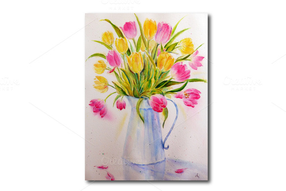 Watercolor Vase Of Tulips