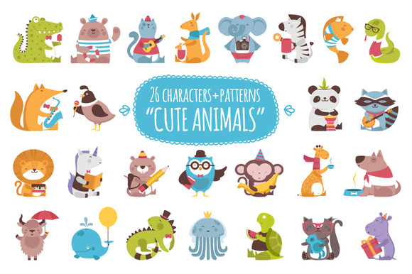 26 Cute Animals 3 Patterns