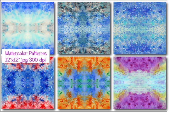 Watercolor Pattern Blue Seamless
