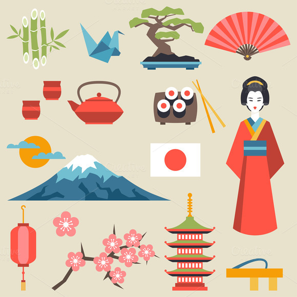 Japan Icons And Symbols Set