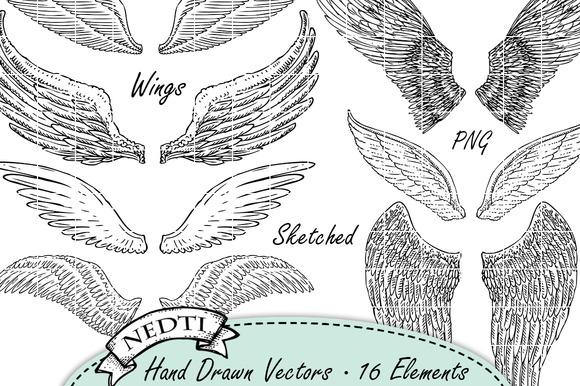 Wings Hand Sketched 16 Vectors