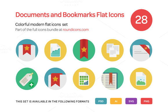 Documents And Bookmarks Flat Icons S