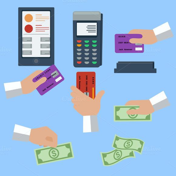 Icon Set Of Cash And Cashless