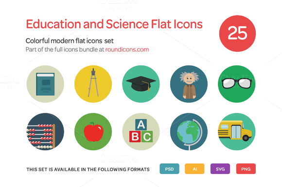 Education And Science Flat Icons Set