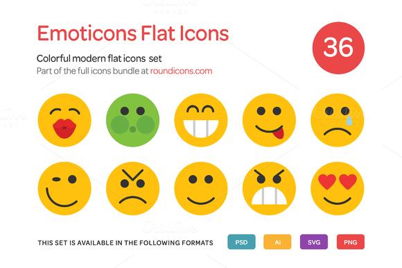 Emoticons Flat Icons Set