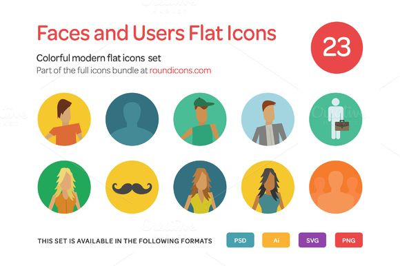 Faces And Users Flat Icons Set