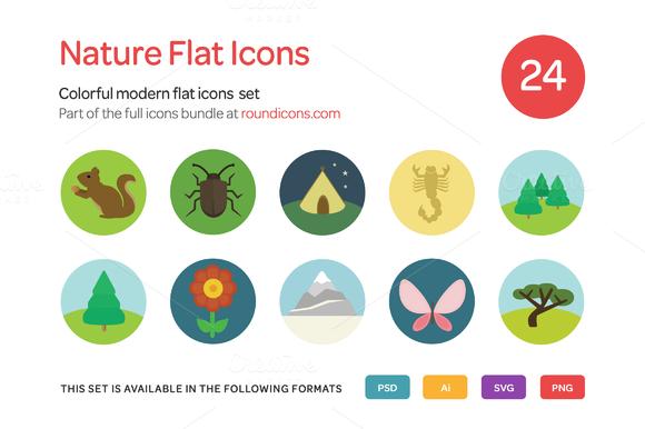 Nature Flat Icons Set