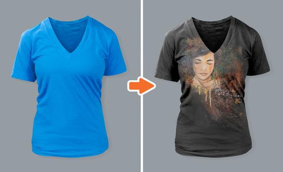 Ladies Deep V-Neck T-Shirt Mockups