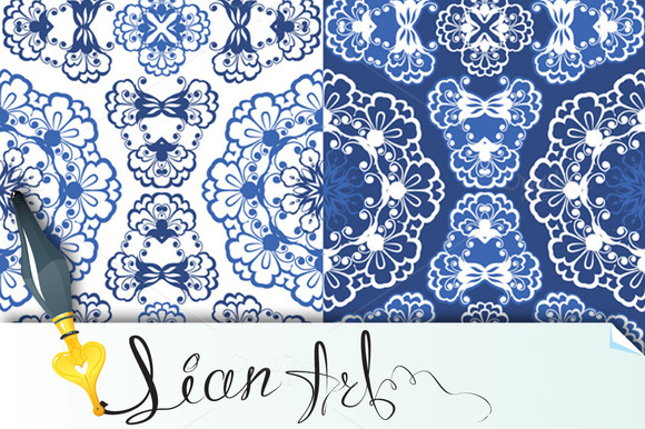 Seamless Blue Color Floral Patterns