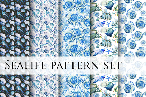 Watercolor Sealife Pattern Set Vol.2