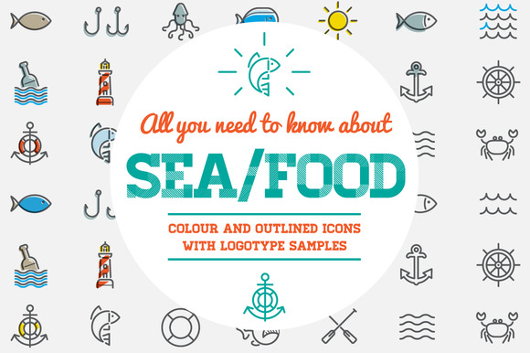 Awesome Sea Food Icons And Logo Set