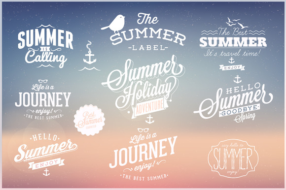 Summer Holidays And Vacation Emblems