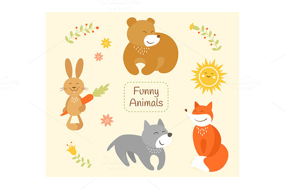 Funny Cartoon Animals Set
