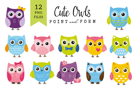 Cute Owls Clip Art In Bright Colors