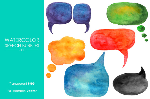 Watercolor Speech Bubbles
