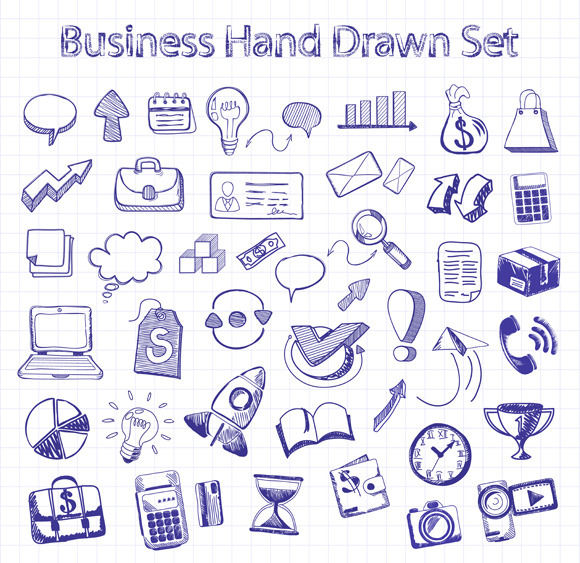 Set Of Doodle Business Management