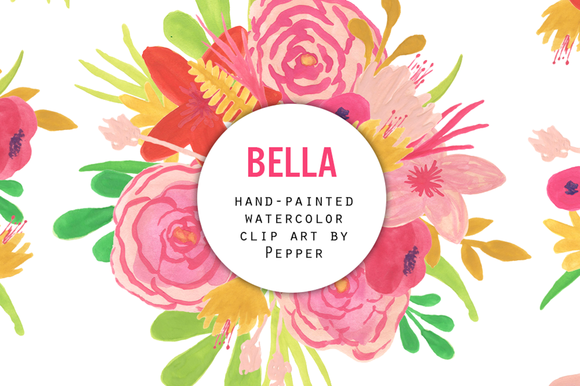 Watercolor Flower Clipart Pink