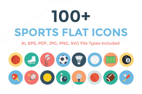 100 Sports Flat Icons