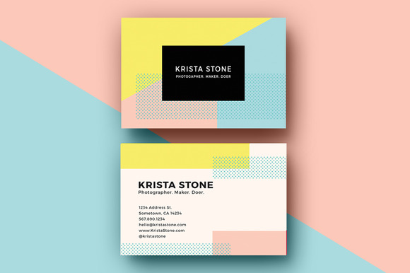 Business Cards Template Bold Geo
