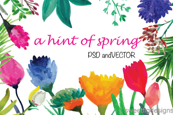 Watercolor Flowers Vector And Psd