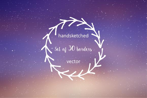 Set Of 30 Handdrawn Borders