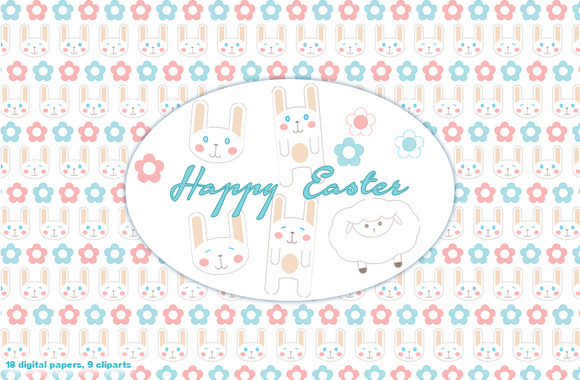 Easter Bunny Papers Cliparts