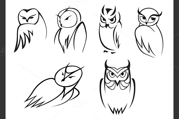 Owl Bird Icons In Outline Style