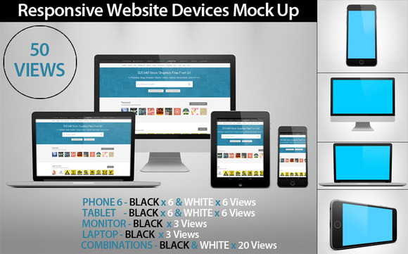 50 Responsive Website Devices MockUp