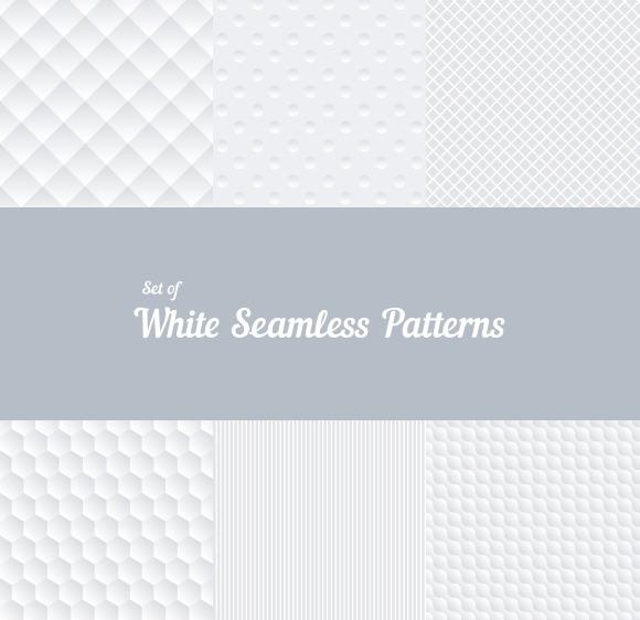 Set Of White Seamless Patterns